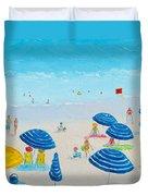 Blue Striped Umbrellas Duvet Cover