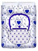 Blue Teapot - Kitchen Duvet Cover
