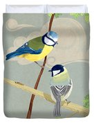 Blue Tit And Great Tit Duvet Cover