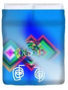 Blue Triple Interconnected Squares Duvet Cover