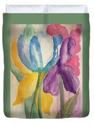 Blue Tulip And Iris Abstract Duvet Cover