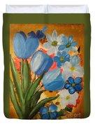 Blue Tulip Trio Duvet Cover