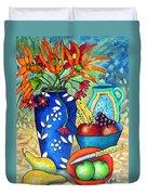 Blue Vase With Orange Flowers Duvet Cover