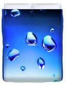 Blue Water Droplets On Glass Duvet Cover