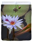 Blue Water Lilies Of Belize Duvet Cover