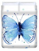 Blue Watercolor Butterfly Duvet Cover