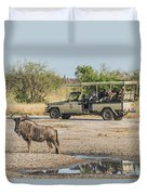Blue Wildebeest Beside Puddle With Jeep Behind Duvet Cover