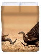 Blue Wildebeest Sparring With Red Hartebeest Duvet Cover