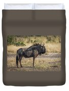 Blue Wildebeest Standing On Savannah Staring Ahead Duvet Cover