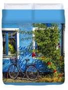 Blue Window With Bike Duvet Cover
