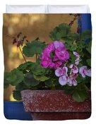 Blue Window With Geraniums Duvet Cover