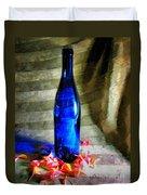 Blue Wine Bottle Duvet Cover