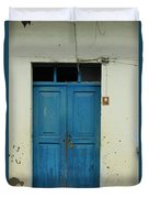 Blue Wood Door In A Building Duvet Cover