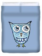 Blue Woot Owl Duvet Cover
