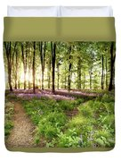 Bluebell Woods With Birds Flocking  Duvet Cover