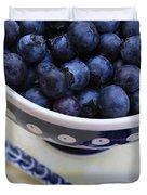 Blueberries In Polish Pottery Bowl Duvet Cover
