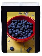 Blueberries In Red Bowl Duvet Cover