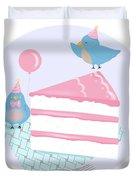 Bluebirds Love Birthday Cake Duvet Cover