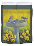 Bluebirds On Birdbath Duvet Cover