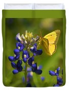 Bluebonnet And Butterfly Duvet Cover