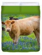 Bluebonnet Cow Duvet Cover