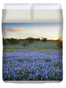Bluebonnet Sunrise And A Windmill In Texas 1 Duvet Cover