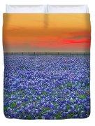 Bluebonnet Sunset Vista - Texas Landscape Duvet Cover