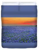Bluebonnet Sunset Vista - Texas Landscape Duvet Cover by Jon Holiday