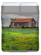 Bluebonnets And Abandoned Farm House Duvet Cover