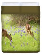 Bluebonnets And Whitetails Duvet Cover