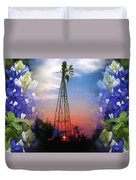 Bluebonnets And Windmill Duvet Cover
