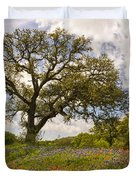 Bluebonnets Paintbrush And An Old Oak Tree - Texas Hill Country Duvet Cover