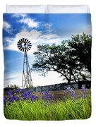 Bluebonnets With Windmill Duvet Cover
