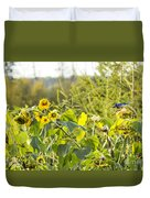 Bluejay And Sunflowers Duvet Cover