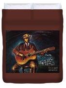Blues Guitarist Duvet Cover