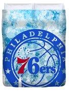 bluish backgroud for Philadelphia basket Duvet Cover