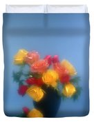 Blurred Roses In The Blue Duvet Cover