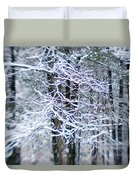 Blurred Shot Of Snow-covered Trees Duvet Cover