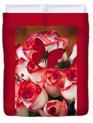 Blush Roses With Red Butterfly Duvet Cover