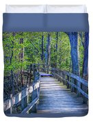 Boardwalk Going Into The Woods Duvet Cover