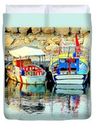 Happy And Colorful Boats In Their Own Company  Duvet Cover by Hilde Widerberg