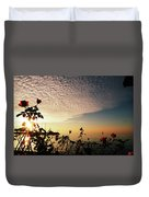 Boat At Sea And Roses Duvet Cover