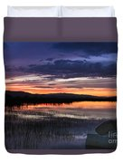 Boat At Sunset Duvet Cover