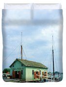 Boat By Oyster Shack Duvet Cover