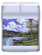 Boat By The Lake Duvet Cover