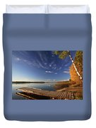 Boat Dock And Autumn Trees Along A Saskatchewan Lake Duvet Cover