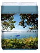 Boat Framed By Trees And Foliage Duvet Cover