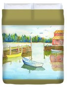 Boat House Duvet Cover by Carolyn Weir