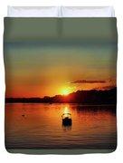 Boat In Sunset Glow Duvet Cover