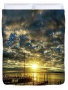 Boat Launch Sunrise Duvet Cover